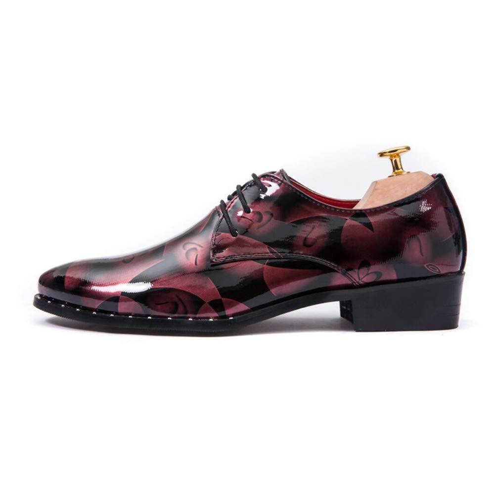 YaXuan Zapatos de de Moda de de los Hombres, Zapatos de Cuero de la ca iacute;da de Primavera, Zapatos de Vestir de Punta Estrecha Floral, Charol de Encaje Oxford, Fiesta y Noche 56ac35