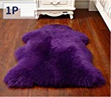 Genuine Sheepskin Rug, Soft Single Pelt Genuine Fur Rug for Sofa, Bed and Floor Purple