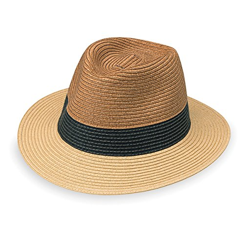 Wallaroo Hat Company Men's St. Tropez Fedora - Fedora, Adjustable, Designed in Australia, Tri-Toned Natural Combo, Large/Extra Large