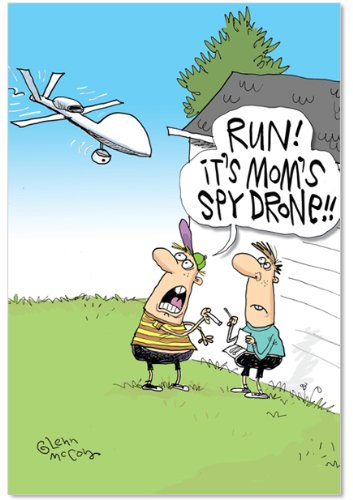 5325 Chocolate - 5325 'Spy Drone' - Funny Mother's Day Greeting Card with 5