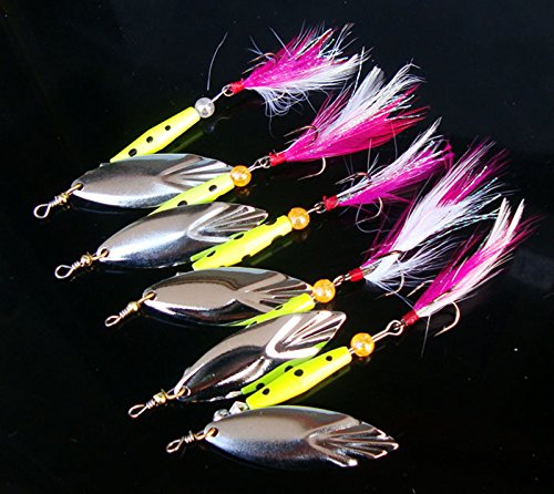5PCS Fishing Fish Fly Feather Treble Hook Spinner Spoon Lure baits 10g