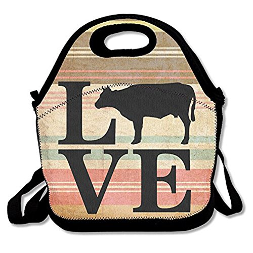 ZMvise Farm Animal Love Cows Lunch Tote Insulated Reusable Picnic Lunch Bags Boxes Men Women Kids Toddler Nurses Travel Bag -
