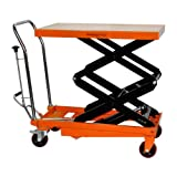 Bolton Tools New Hydraulic Foot Operated Double Scissor Lift Table Cart Hand Truck - 770 LB of Capacity - 51.2'' Max Height - Model TF35