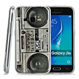 Kit Me Out CAN® Samsung Galaxy J1 (2016) [Shock Absorbing] [Thin Fit] TPU Gel Case Cover Skin Pouch - Multicoloured Vintage / Retro Stereo
