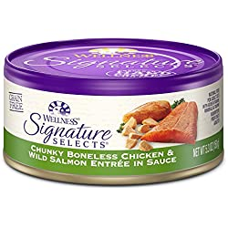 Wellness Signature Selects Natural Canned Grain Free Wet Cat Food, Chunky Chicken & Wild Salmon, 5.3-Ounce Can (Pack of 24)