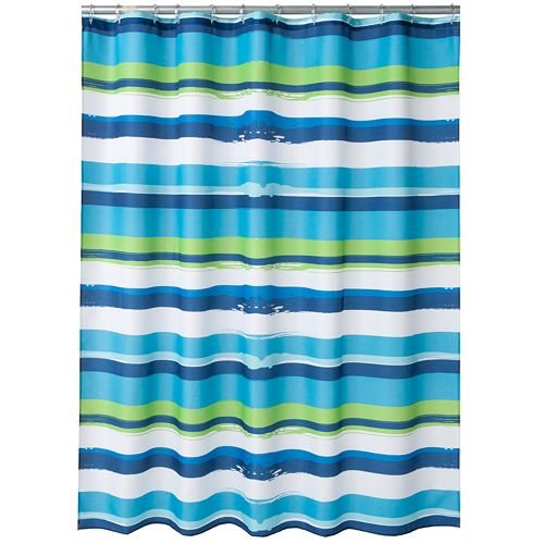 Amazon Oblique Royal Blue Aqua Lime Green White Bold Horizontal Striped Fabric Shower Curtain Home Kitchen