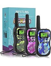Nestling Walkie Talkie voor kinderen, 3-12 jaar, 8-kanaals radio met achtergrondverlichte lcd-zaklamp, 1-3 mijl bereik voor familieplezier, spelen, avontuur, camping, wandelen