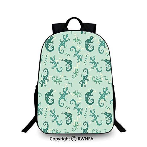 Motifs School Bag Travel Daypack,African Exotic Lizards and Chameleons Leaping Nature Animal Art Nursery Decorative Backpack Cool Children Bookbag, Green Mint