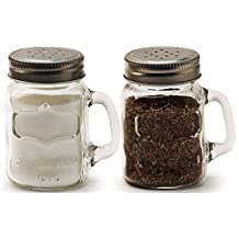 Circleware Mason Yorkshire Jar Mug Salt and Pepper Shakers with Glass Handles and Metal Lids, 5 Ounce, Set of 2 in Gift Box, Limited Edition Glassware Serveware