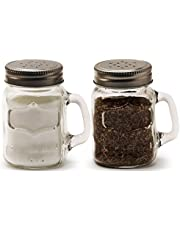 Circleware Glass Mini Mason Jar Mug Salt and Pepper Shakers with Handles & Metal Lids, Kitchen Glassware Preserving Containers, Perfect Himalayan Seasoning Spices, 2-Piece Set, 5 oz, Yorkshire