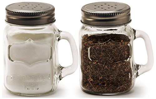 Circleware 66734 Glass Mini Mason Jar Mug Salt and Pepper Shakers with Handles & Metal Lids, Kitchen Glassware Preserving Containers, Perfect Himalayan Seasoning Spices, 2-Piece Set, 5 oz, Yorkshire
