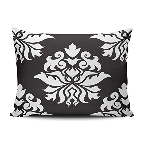 Wallpaper Damask Flower (ONGING Decorative Pillowcases Damask Ornate Repeat Pattern White on Black Customizable Cushion Rectangle Boudoir Size 12x18 Inch Throw Pillow Cover Case Hidden Zipper One Side Design Printed)