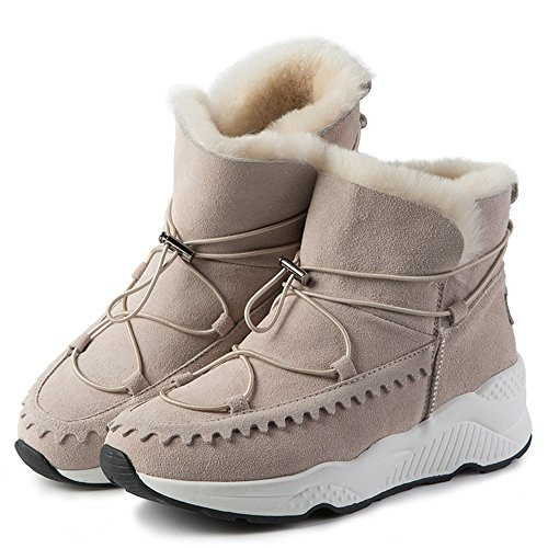 FUFU Damen Stiefel Komfort Mode Stiefel Herbst Winter Wanderschuhe Kleid Outdoor Flache Ferse Schwarz / Sand Farbe Sand color