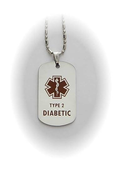 Amazon type 2 diabetes diabetic medical alert tag pendant in type 2 diabetes diabetic medical alert tag pendant in gold or silver silver aloadofball Images