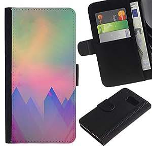 All Phone Most Case / Oferta Especial Cáscara Funda de cuero Monedero Cubierta de proteccion Caso / Wallet Case for Samsung Galaxy S6 // montañas polígono arte del trullo púrpura sol
