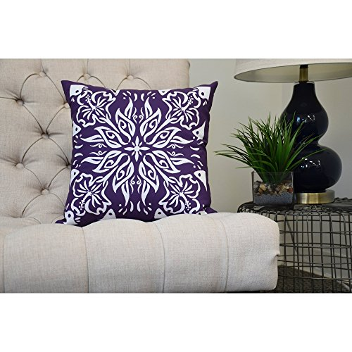 Price comparison product image DS 1 Piece 18 X 18 Purple White Floral Throw Pillow, Geometric Luxurious Flower Tropical Flowers Pattern Contemporary Chic Modern Style Accent Pillows Seat Cushion Couch Sofa Bedroom Bed, Polyester