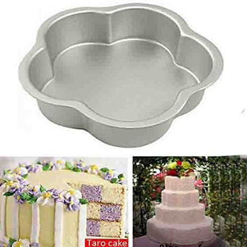 (Valentine Day Present for Loved Ones, Aluminum Flower Shape Mould Cake Maker Nonstick Bakeware Cake ,Cheesecakes Silver Color Size 9.5 X 9.5 Inch)