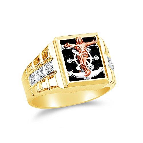 Size - 10 - 14k Yellow Gold Black Onyx Men's Cross Crucifix Anchor Mariner Ring