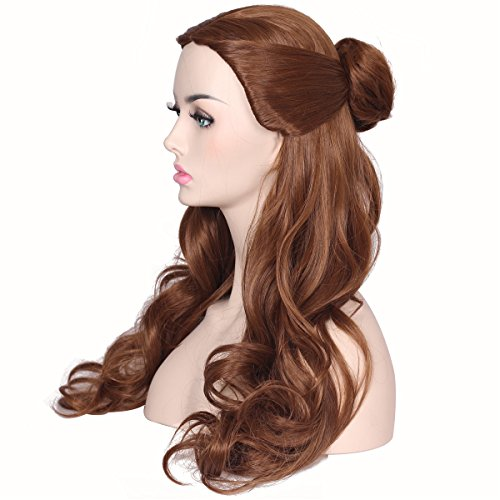 ColorGround Women's Long Wavy Brown Prestyled Cosplay Costume Wig with Detachable Bun for $<!--$21.90-->