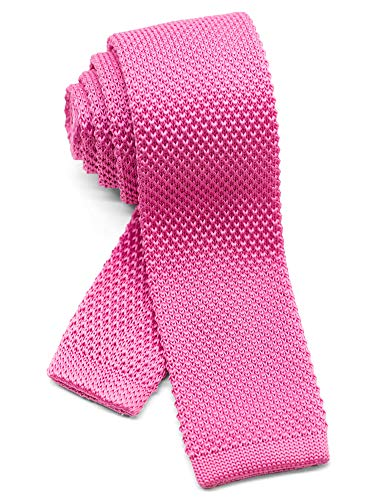 (WANDM Men's knit tie slim skinny square necktie width 2