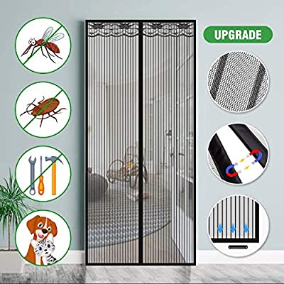 SAFETYON Mosquitera Puerta Magnetica, Corredera Cortina Mosquitera Magnética para Puertas de Salón/Balcón/Corredor 100 * 220 cm (Negro)
