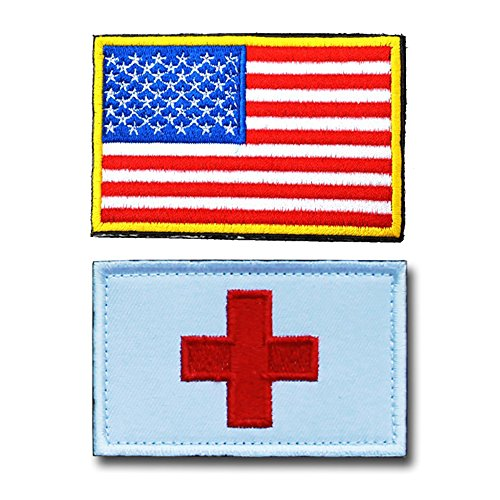 U.S. Patch Embroidery USA American Flag Tactical Morale Patch Medic Armband magic sticker with Flag by Feisuo (A) ()