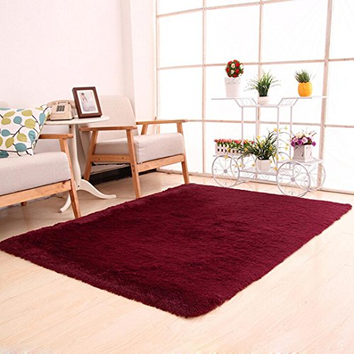 Shaggy Anti-skid Carpets Rugs Floor Mat/Cover 80*120cm (Red) - 2
