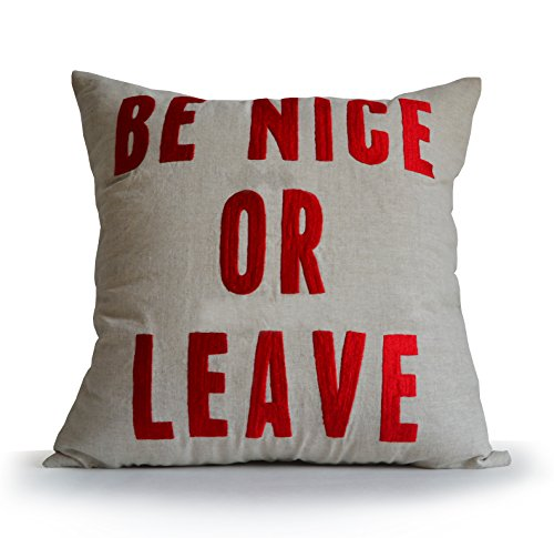 Amore Beaute Be Nice or Leave Pillow Cover House Rules Cushion Linen Pillowcase Handmade Embroidered Pillows Gifts Present Birthday Dorm Decor Teenage Room by Amore Beaute