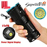 50000Lumens Digital LED Flashlight - Coerni Digital Display Waterproof Super Bright Hunting Flashlight (Blue)