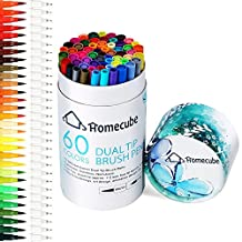Dual Tip Brush Pens, Homecube 60 Colors Watercolor Art Markers Pens Set with Fine Liners Tip and Brush Tip for Adult Coloring Books, Drawing, Painting, Writing Calligraphy