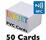 ID Card Printer - Inkjet PVC Cards with NFC Chip (NTAG215) - Brainstorm ID's Enhanced Ink Receptive Coating, Waterproof & Double Sided Printing, Epson & Canon Inkjet Printers (50 Inkjet Printable ID Cards)