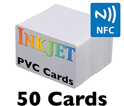 Pvc Id Cards (Inkjet PVC Cards with NFC Chip (NTAG215) - Brainstorm ID's Enhanced Ink Receptive Coating, Waterproof & Double Sided Printing, Epson & Canon Inkjet Printers (50 Inkjet Printable ID Cards))