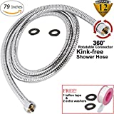 79 inch shower hose - Kink-free Shower Hose Extra-long 79 Inches Handheld Showerhead Hoses Extension Hand Held Shower Head Hose Replacement Assembly 360 Degree Swivel BRASS Connectors Stainless Steel Hoses Kit Chrome 2M
