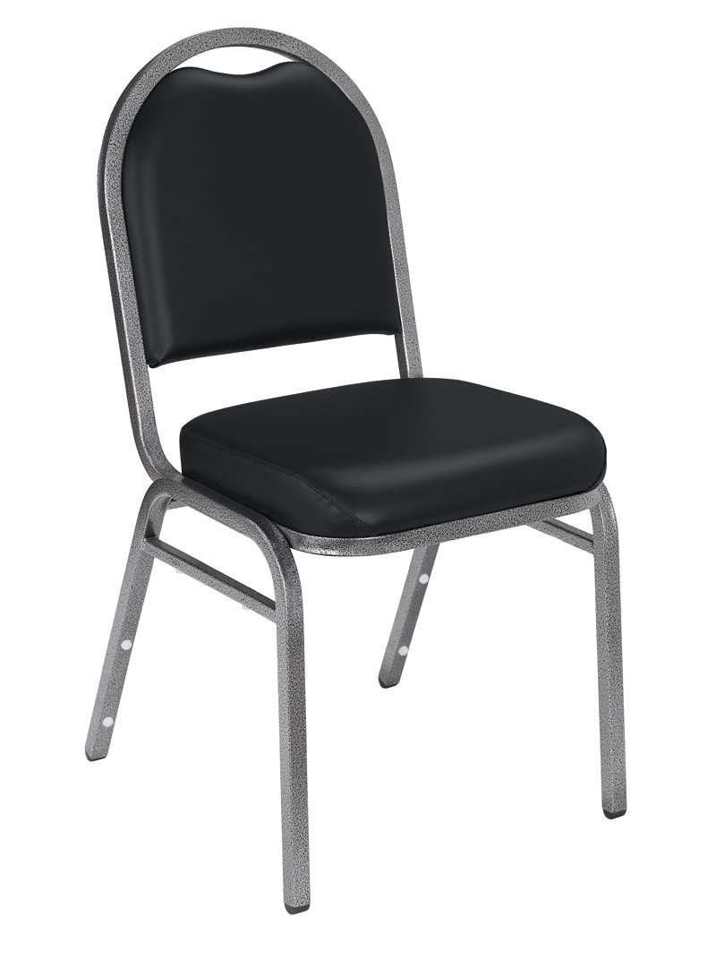 NPS 9210-SV-CN Vinyl-upholstered Dome Back Stack Chair with Steel Silvervein Frame, 300-lb Capacity, 18'' Length x 20'' Width x 34'' Height, Black (Carton of 4) by National Public Seating
