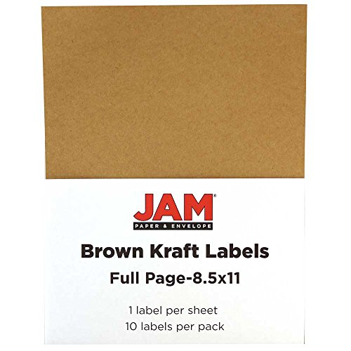 - JAM PAPER Shipping Labels - Full Page Sticker Paper - 8 1/2 x 11 - Brown Kraft - 10 Full Sheets/Pack