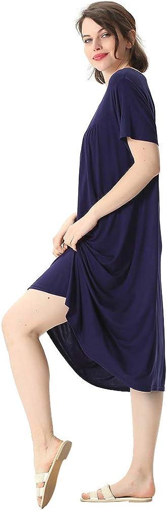 amropi Mujer Camis/ón Vestidos Ropa de sal/ón Suave Hogar Camiseta Cuchar/ón Cuello Suelta Ropa de Dormir