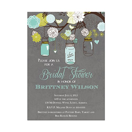 Mason Jar Bridal Shower Invitations in Teal and Gray, Base price is for a set of 10 5x7 inch card stock invitations with white envelopes]()