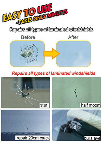 Woworld Car Windshield Glass Repair Kit Fix Cracks,Chips,Bull's Eyes and Starts DIY Repair Tool Set by Woworld (Image #2)