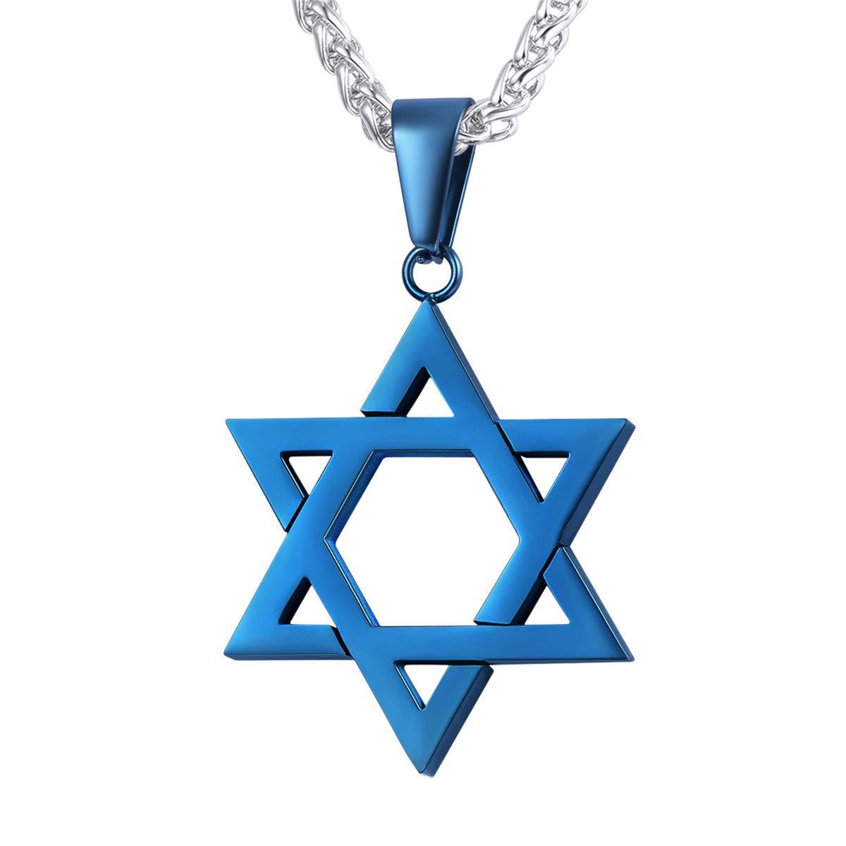 U7 Jewish Jewelry Star of David Pendant Necklace Women Men Chain Black Gun Plated/18K Gold Plated/Stainless Steel Israel Necklaces U7 Jewelry U7 GP1813H