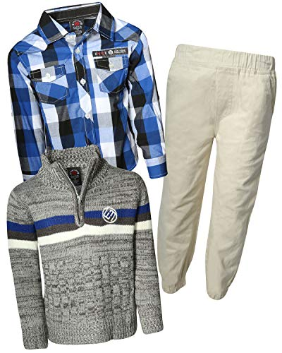 - Enyce Boys 3-Piece Pant Set with Zip Sweater & Woven Shirt, Blue Plaid/Stone Jogger, Size 12/14'