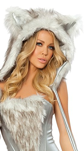 J Valentine Women's Big Bad Wolf Hood Silver/White One Size Fits Most