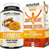 Organic Turmeric Curcumin – Joint Pain Relief and Support – with Bioperine/Black Pepper Highest Absorption – Tumeric Non-GMO Supplements – High Potency Turmeric (120) Made in USA by Nurturition.