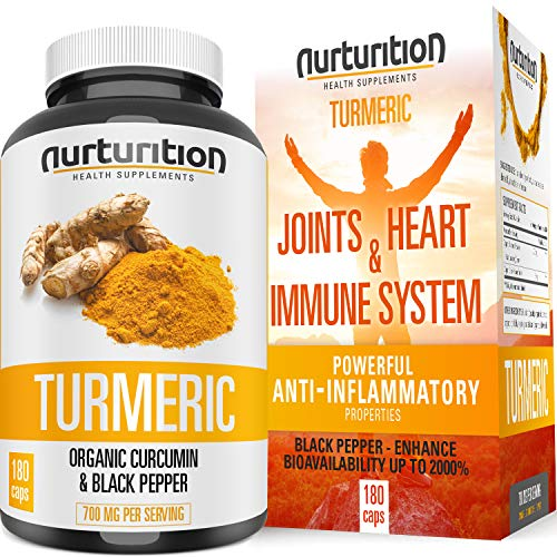 Organic Turmeric Curcumin – Joint Pain Relief and Support – with Bioperine/Black Pepper Highest Absorption – Tumeric Non-GMO Supplements – High Potency Turmeric (180) Made in USA by Nurturition.