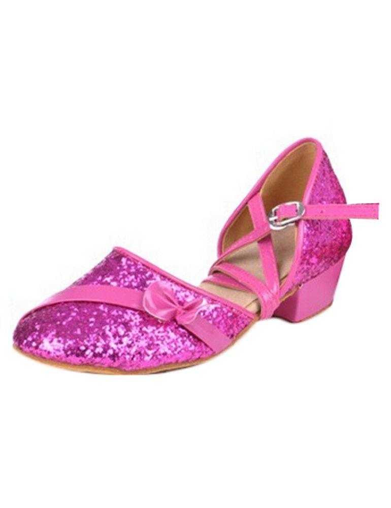 Eden Babe Girl's Paillette Bow Tango Ballroom Latin Dance Sandals(Little Kid 2.5M,Rose Red 34)