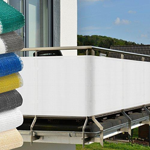 Balkon Sichtschutz 500x90 cm Weiß - witterungsbeständige Balkonumspannung mit Befestigung - Windschutz