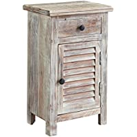 Ashley Charlowe 1 Door Wood Nightstand in White Wash