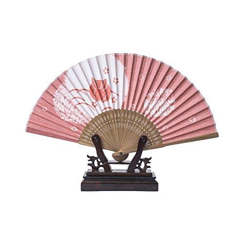 Rabbit Homemade Costume (RH Art Homemade Japanese Bamboo Folding Hand Fan for Women, Printed Rabbits - Pink)