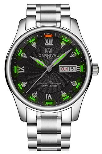 Men's Wrist Watches Automatic Mechanical with Luminous Tritium (Green Light-Black (Automatic Swiss Mens Wrist Watch)