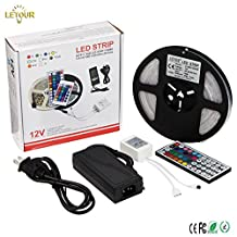 Super Bright LED Strip SMD 5050 IP67 Waterproof RGB Stip 12 Volt 300LED 5Meters LED Strips Flexible Light with 44Key Remote & 12V Power Supply (5050 16.4ft 300LEDs RGB IP67 Kit)