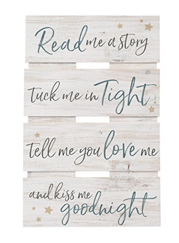 Wall Plaque Goodnight - P. GRAHAM DUNN Read Me a Story Kiss Goodnight Whitewash 10 x 15.5 Wood Skid Pallet Wall Plaque Sign